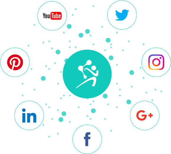 Seven social media icons circling a teal circle wit the Accellerated Biologics Logo in the middle.