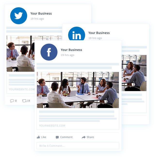 Three post examples of what your business advertisement on facebook, twitter, and linkedin would look like.