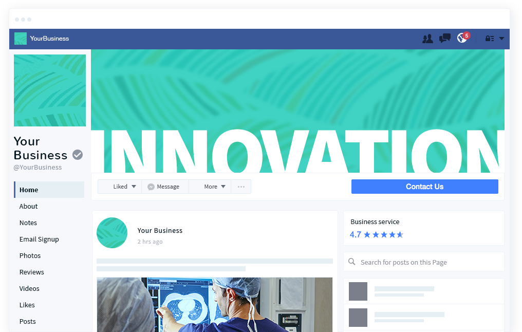 A replication of a facebook page, but imagined for your business